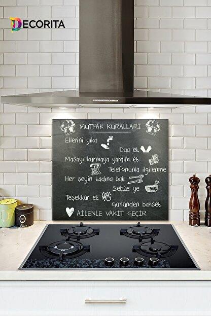 Decorita Mutfak Kuralları - Kara Tahta Görünümlü   Cam Ocak Arkası Koruyucu   52cm X 60cm