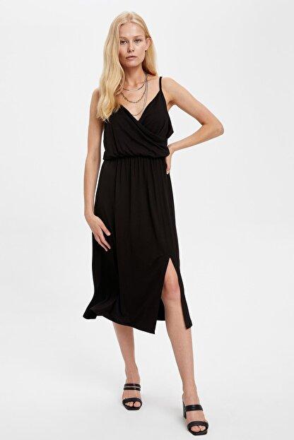 Defacto Kadın Siyah Kruvaze Yaka İnce Askılı Elbise S5170AZ20HS