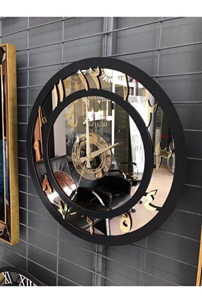 İK mimarlık Elite Arapça Rakamlı Ayna Saat 50 Cm (orta Boy) Bronz Gold