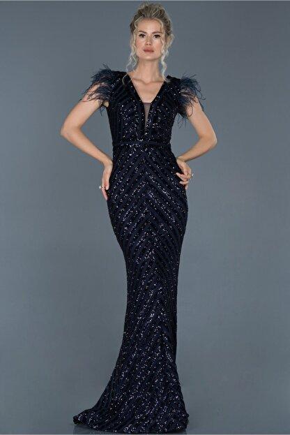 Abiyefon Kadın Lacivert Uzun Pul İşlemeli Otrişli Abiye Elbise Abu881