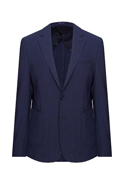 W Collection Erkek Lacivert Mavi Çizgili Blazer