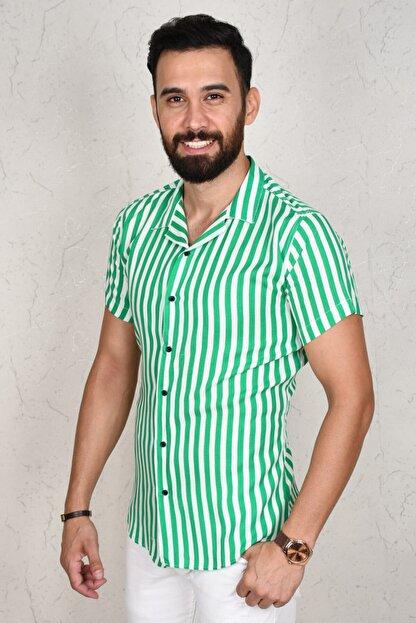DeepSea Erkek Yeşil Çizgili Kısa Kol Gömlek 2002805