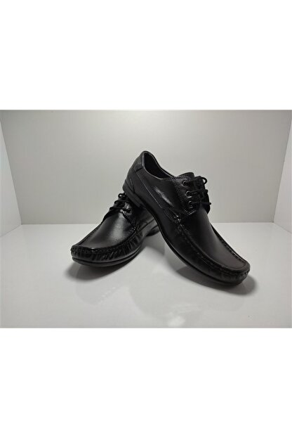 ACELYA Erkek Siyah Hakiki Deri Bağcıklı Günlük Ayakkabı
