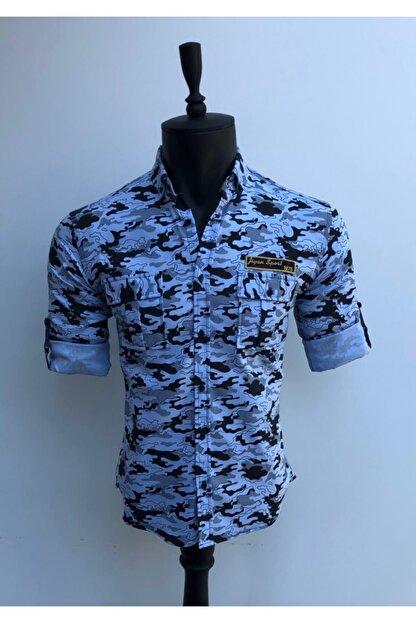 JİYAN Erkek Mavi Kamuflaj Desenli Gömlek