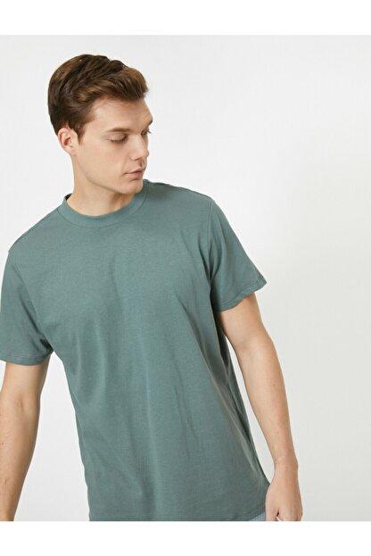 Koton Erkek Yeşil Yüksek Yaka Rahat Kesim Basic Tisört