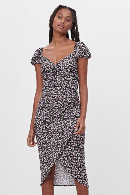 Bershka Kadın Siyah Renkli Desenli Askılı Midi Elbise