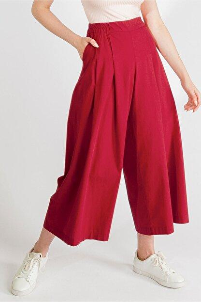 Streetbox Kadın Bordo Pileli Pantolon