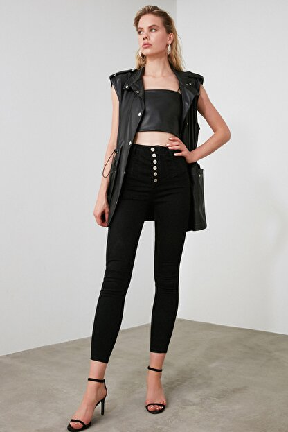 TRENDYOLMİLLA Siyah Dikiş Detaylı Düğmeli Süper Yüksek Bel Skinny Jeans TWOAW20JE0342
