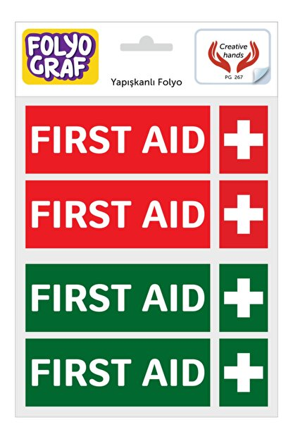 Folyograf First Aid / Ilk Yardım Ikon. Yapışkanlı Folyo Etiket / Sticker