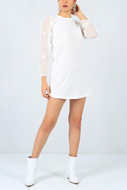 FİLELİ Kadın Beyaz Ponpon Kol  Elbise