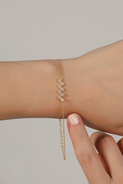 Esda Collection Kadın Altın Kaplama Trapez Taşlı Bileklik