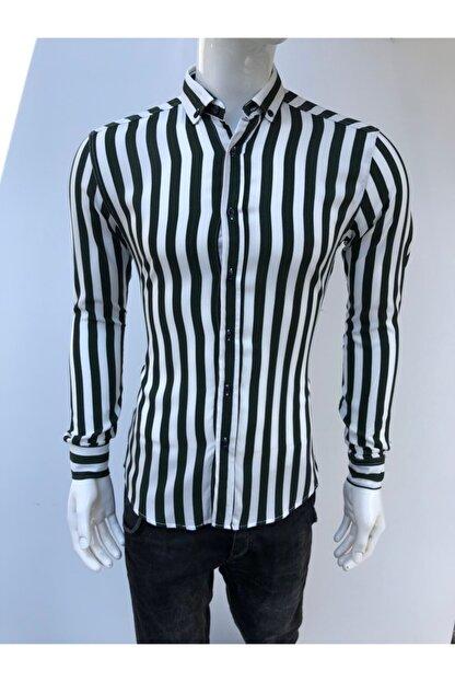 JİYAN Erkek Siyah Beyaz Çizgili Uzun Kollu Gömlek