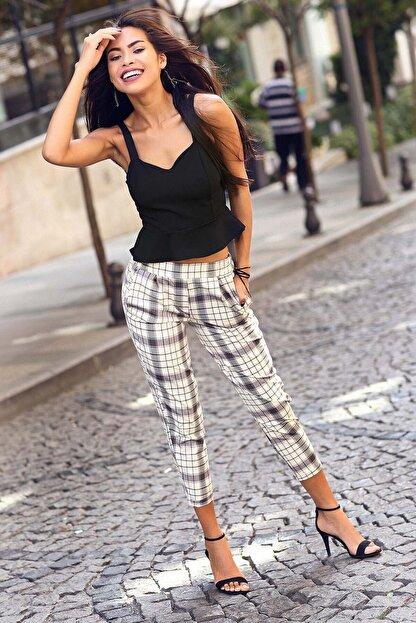 Womenice Kadın Bej Krem Ekose Beli Lastikli Pantolon