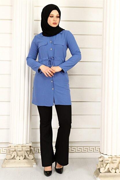 ModaKardelen Kadın İndigo Mavisi Belden Bağlamalı Gömlek