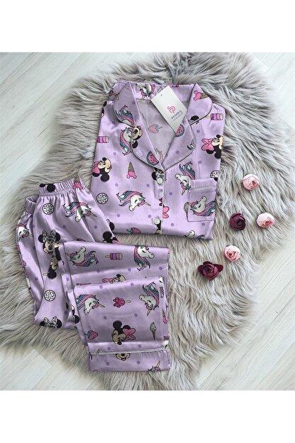Pembishomewear Kadın Mor Mickey Mouse Saten  Kruvaze Gömlek Pijama Takımı