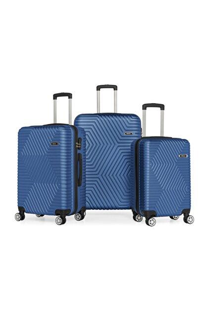 SERAMİKCİ Polo Mavi 3'lü Valiz Set