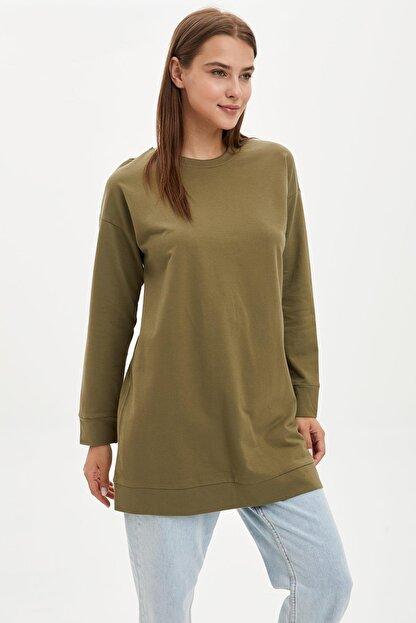 DeFacto Kadın Modest Khakı Relax Fit Basic Pamuklu Sweat Tunik M8670AZ20SP
