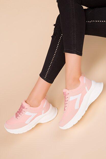Soho Exclusive Pudra-Beyaz Kadın Sneaker 15218