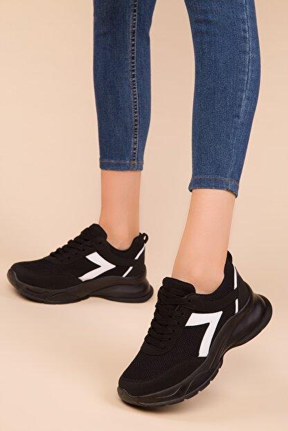 Soho Exclusive Siyah-Beyaz Kadın Sneaker 15218
