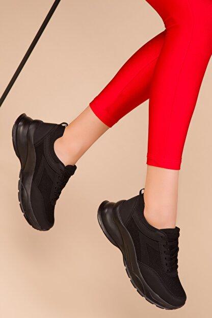 Soho Exclusive Siyah-Siyah Kadın Sneaker 15218