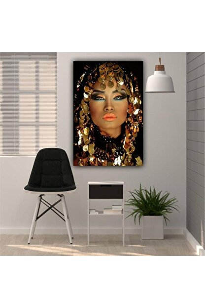 Simli Kanvas Altın Örtülü Kadın Kanvas Tablo 155x100cm Ayk-022