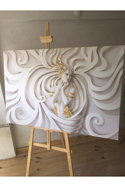 Simli Kanvas Sml024-gold Sim Işlemeli Taş Kadın Kanvas Tablo 50x70cm