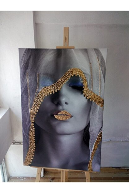 Simli Kanvas Gold Sim İşlemeli Beyaz Örtülü Kadın Kanvas Tablo 120x80 cm Sml007