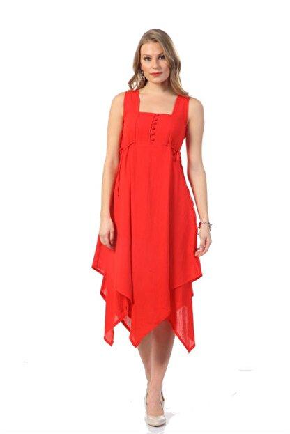 Eliş Şile Bezi Kadın Kırmızı Üçgen Katlı Elbise