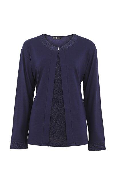 Butik Triko Kadın Lacivert Simli Takım Görünümlü Penye Bluz 3689