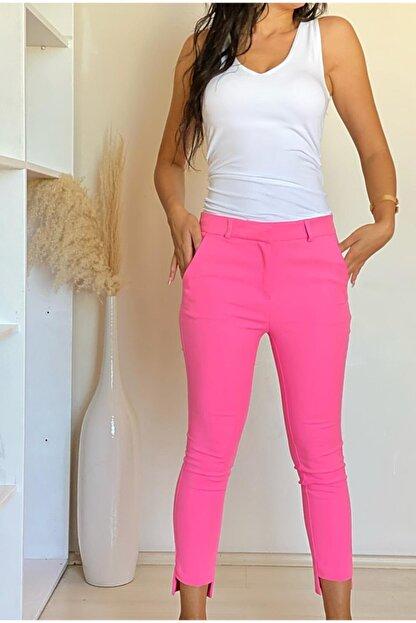 ElModa Boutique Kadın Fuşya Paça Detaylı Pantolon