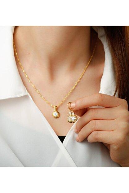 Gümüşistan 925 Ayar Gümüş Altın Kaplama Tektaşlı Trend Takı Seti