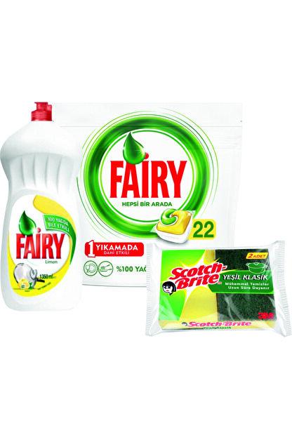 Fairy Hepsi Bir Arada Bulaşık Makinesi Deterjanı 22 Tablet+ Sıvı Bulaşık Deterjanı 1350ml+ 2'li Sünger
