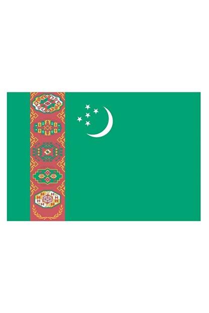Sticker Fabrikası Türkmenistan Türkmen Bayrağı Sticker 00718 13x7,5 Cm