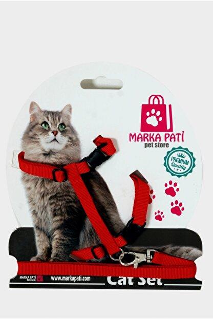 Marka Pati Kedi Göğüs Tasma Seti Kırmızı
