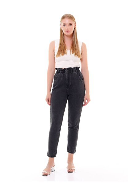 modamevsim Kadın Gri Lastikli Denim Pantolon