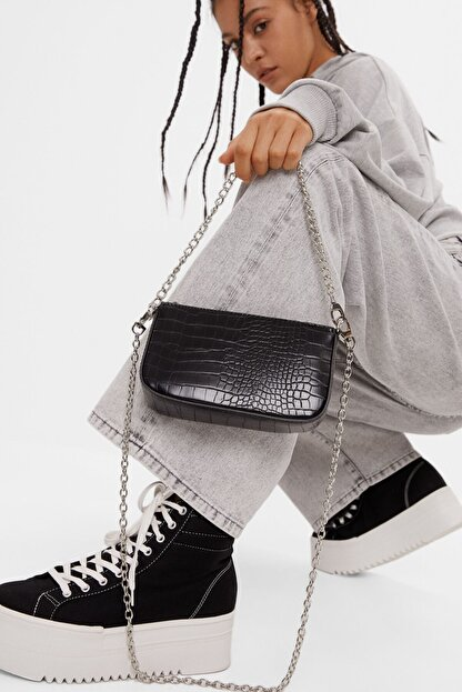 Bershka Kadın Siyah Suni Deri Çanta