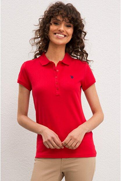 US Polo Assn Kadın Kırmızı  Polo Yaka T-shirt