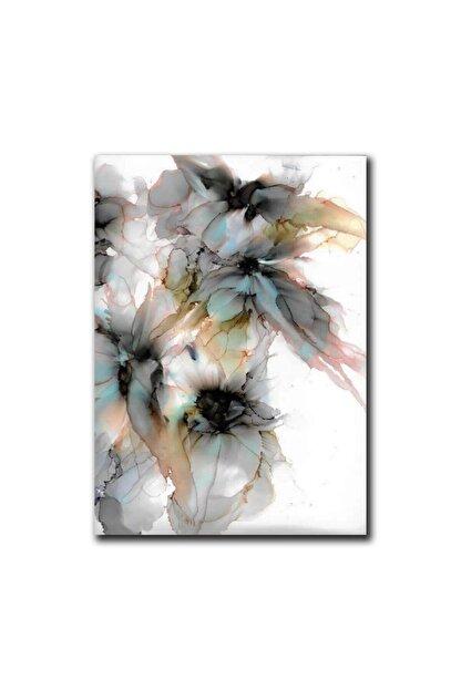 TabloPlus Soyut Suluboya Çiçekler Yağlı Boya Dokulu Tablo 75cm X 100cm Siyah
