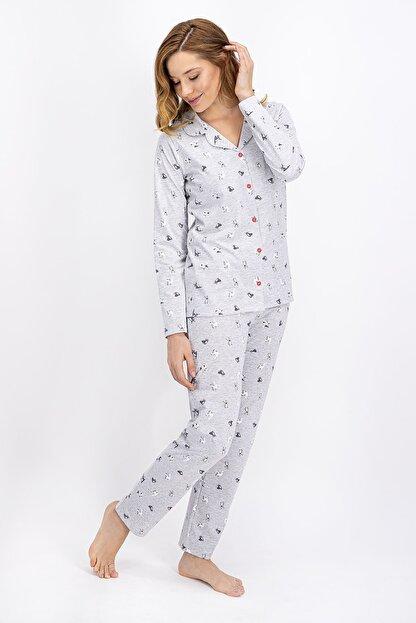 Rolypoly Kadın Karmelanj Little Cats Gömlek Pijama Takımı