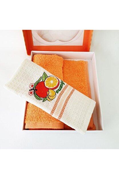 Sanalbolluk Portakal Resimli Mutfak Havlusu İkili Paket