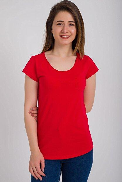 Kadın Modası Kadın Kırmızı Kesik Biyeli Bisiklet Yaka Tek Cepli T-shirt