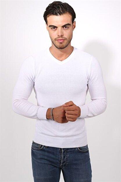 Tarz Cool Erkek Beyaz Dar Kesim Merserize Kazak