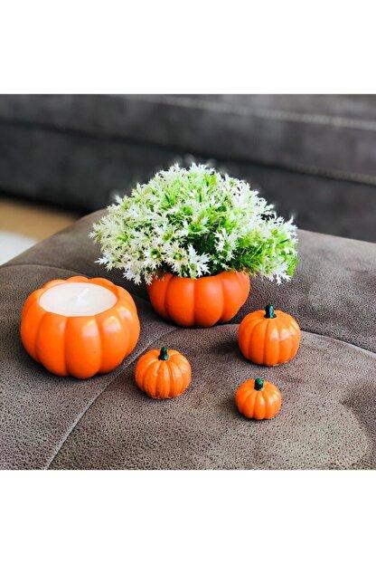 bifra Turuncu Balkabağı Saksıda Mum Ve Yapay Çiçek 5li Set