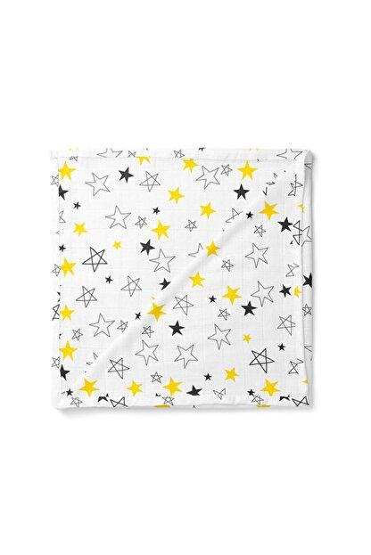 Lunanino Bebek Beyaz Sarı Yıldız Sarı Çok Amaçlı Müslin Battaniye