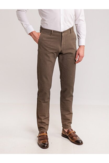 Dufy Erkek Kahverengi Toprak Armür Pamuk Likra Karışımlı Pantolon