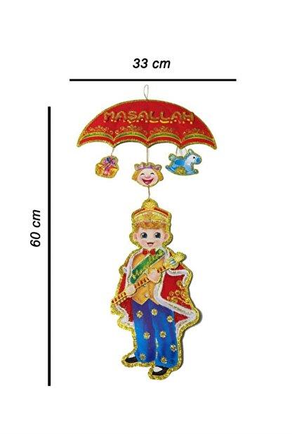 Deniz Party Store Maşallah Duvar Dekor Süsü Şemsiyeli Model Simli Üç Boyutlu Çift Taraflı