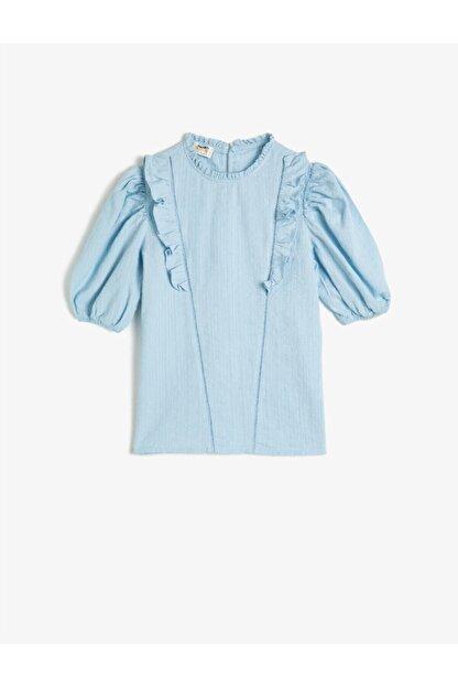 Koton Kız Çocuk Mavi Pamuklu Kısa Kollu Fırfırlı Gömlek