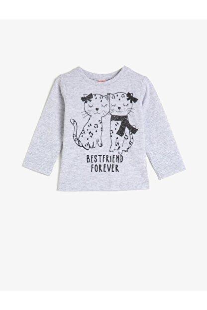 Koton Kız Bebek Gri Bisiklet Yaka Uzun Kollu T-Shirt