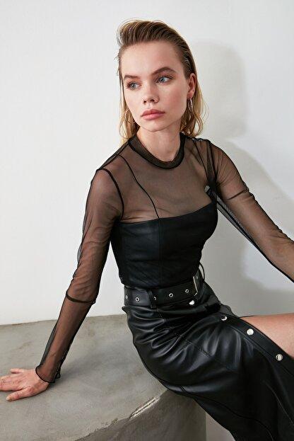 TRENDYOLMİLLA Siyah Tül Örme Bluz TCLSS19FV0052