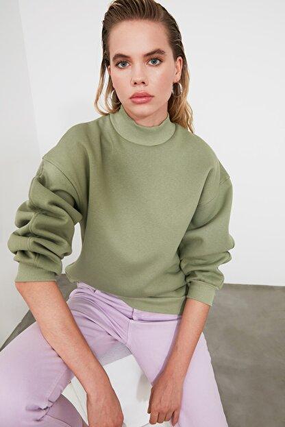 TRENDYOLMİLLA Mint Dik Yaka Loose Örme Sweatshirt TWOAW20SW0584